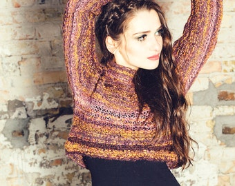 unique womens sweater - chunky sweater - womens jumper - fashion sweater - crochet for sale