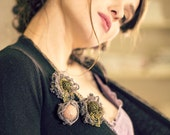 miniature - mothers day gift - textile brooch - linen brooch - unique brooch - brooch boutonniere - textile art - key brooch - rabbit brooch