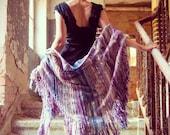 Bohemian clothing Festival shawl Boho knitted fringle shawl Triangle Purple shawl Striped Unusual Shawl wrap for women Rustic Festival