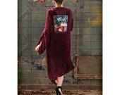 Kimono robe Velvet Cardigan Long Soft Kimono Jacket Bohemian clothing Festival Unique gift for her Christmas outfit graphic Xmas clothing
