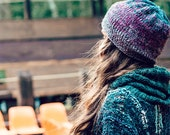 knit hat -  winter hat - beanie - hand knit hat - emerald - grey hat - womens hat - fashion hat