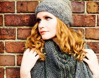 knit hat -  winter hat - beanie - hand knit hat - grey hat - womens hat - fashion accessories