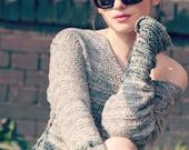bohemian clothing - light sweater - spring fashion - hand knit womens sweaters - boho tunic sweater - boho clothing - shoulder off sweater