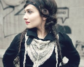 mothers day gift - womens lace shawl - bohemian shawl - gift for her -  linen shawl - triangle shawl - mini shawl