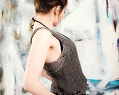 Womens clothing Gray tank top Grunge top Fall fashion Metallic top Grunge clothing Sparkle top Party top Knit top