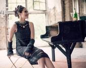 womens clothing - audrey hepburn dress - little black dress  - prom - charcoal dress - unique dress - crochet for sale - black friday sale