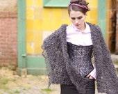 chunky shawl - knit shawl -  loose knit - wrap shawl - charcoal shawl - winter shawl - unique gift