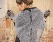 womens gift - triangle shawl - lace shawl - russian shawl - steel blue shawl - bohemian shawl - lace shawl