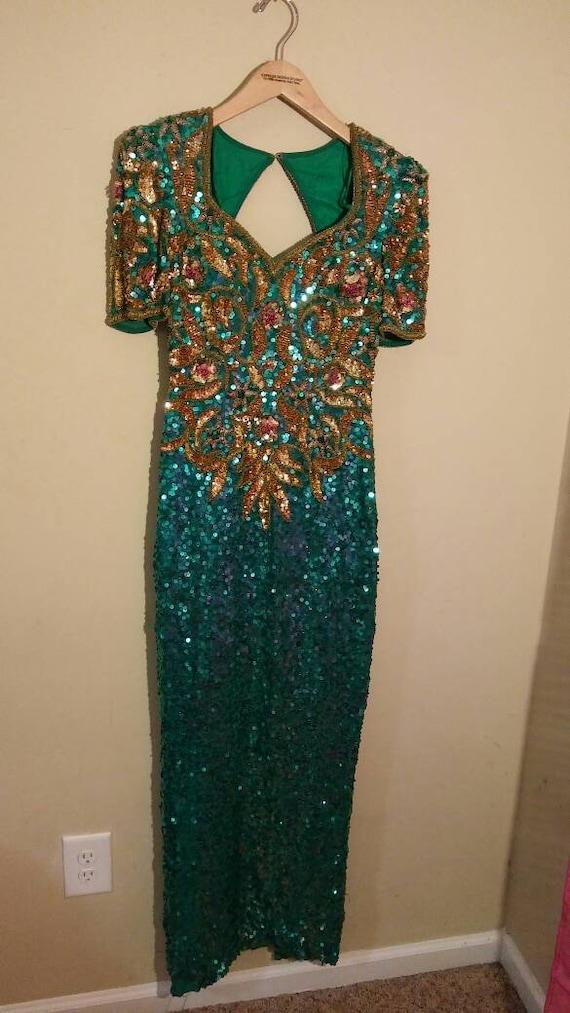 Beautiful mermaid colors Sequin Gown