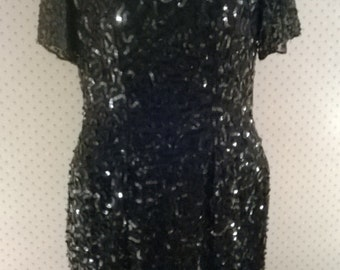 Vintage Black Sequin Dress by Stenay,1980s