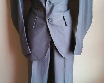 1970s steel grey pant suit