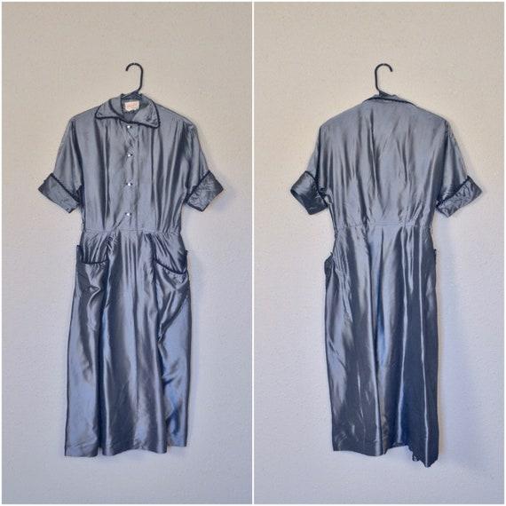 1940s shiny silver shirtwaist // fancy forties jun