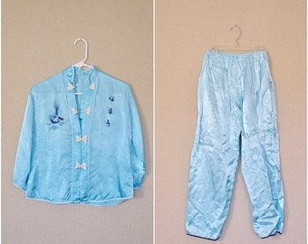 summer sale // 20% off // vintage teal satin dragon pajamas // 1960s asian-inspired jammies // super soft satin sleepers // small