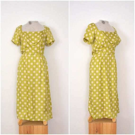 1950s lime polka dot dress // mid-century silk eve
