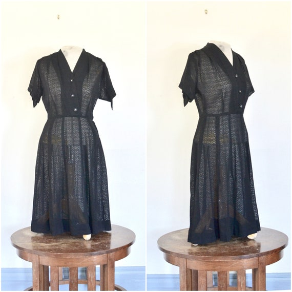 1940s black rayon patterned shirtwaist // mid-cent
