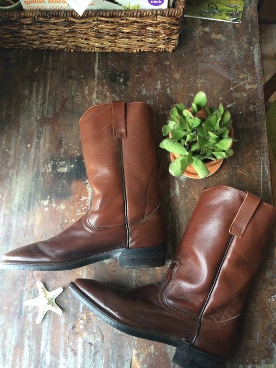 vintage chocolate cowboy boots // brown leather re