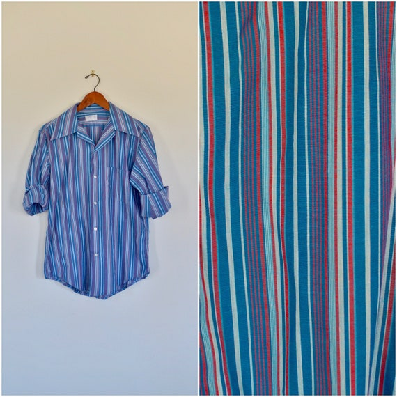 1950s men's blue and red striped button up // vint