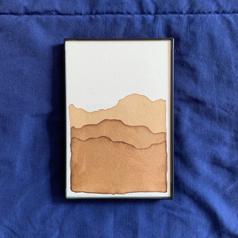 Natural Dye Framable 4 x 6 Brown Mountain Artwork Individual or Set of 3 or 6 Hand Stamped /& Painted
