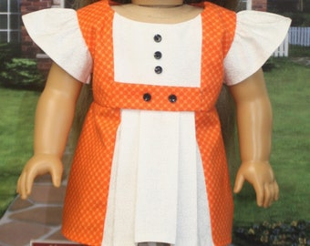 "American Girl Style ""Marsha"" Mini Dress in Orange and White"