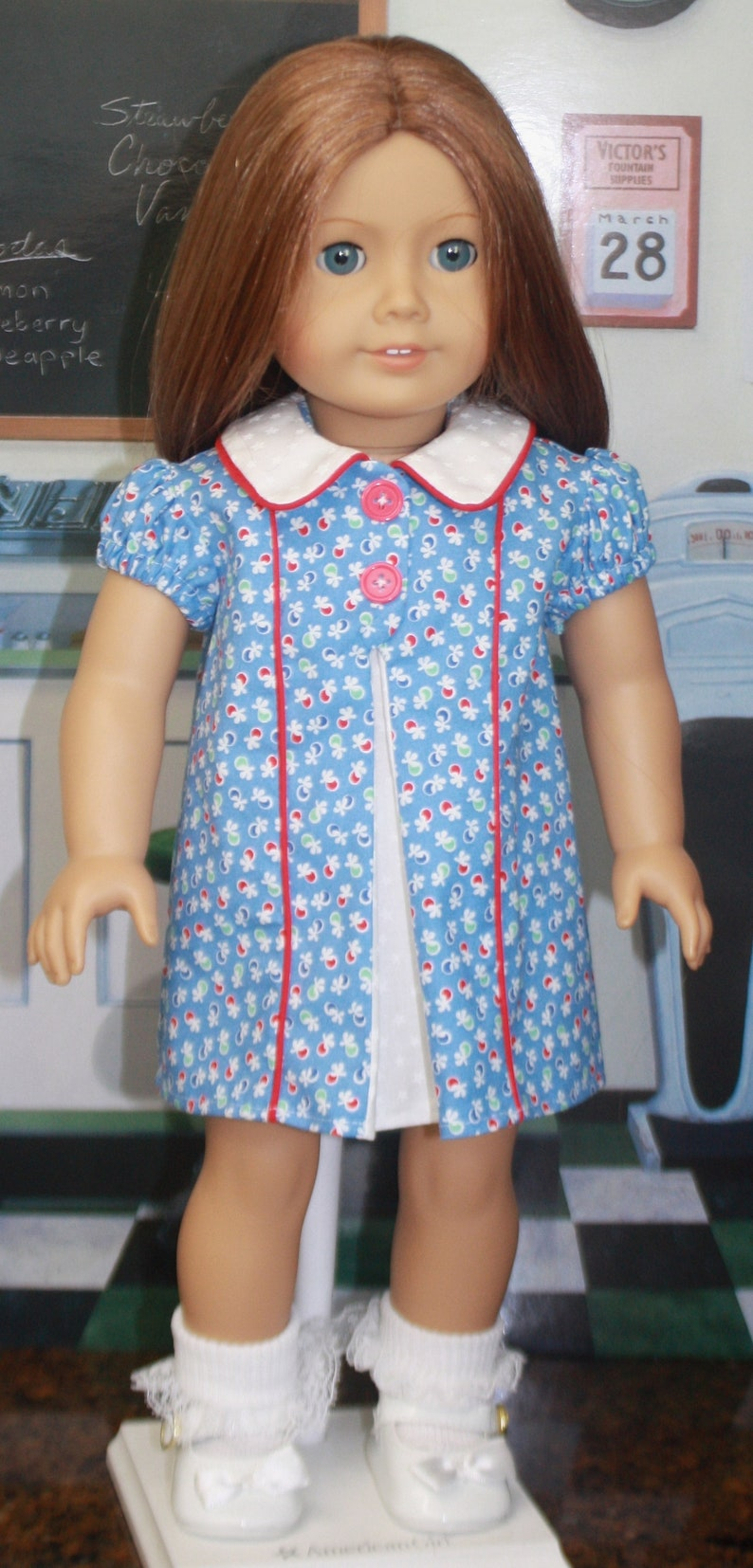 5f9b59d6b85 American Girl Style 1930s Split Front Dress in Blue and Red