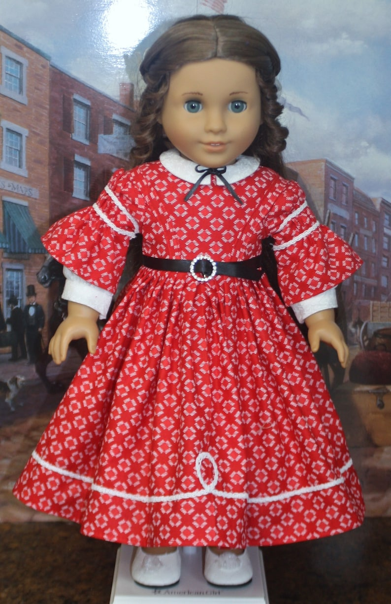 American Girl Style 1850s Gathered Sleeve Day Dress in Red