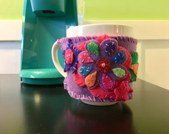 Flower Coffee Cozy /Mother's Day Gift Idea / Handmade Coffee Cup Sleeve / Pink And Purple Reversible Cosy / Handmade Coffee Cuff / Coosy