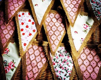 Floral Hessian Village Fair Bunting