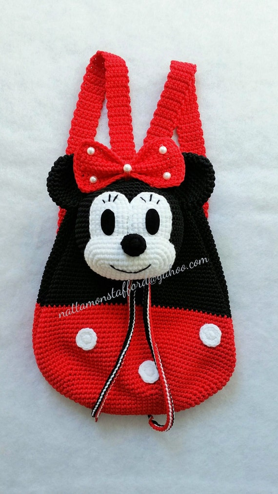 MADE TO ORDER Nylon Minnie Mouse backpack Handmade crochet | Etsy