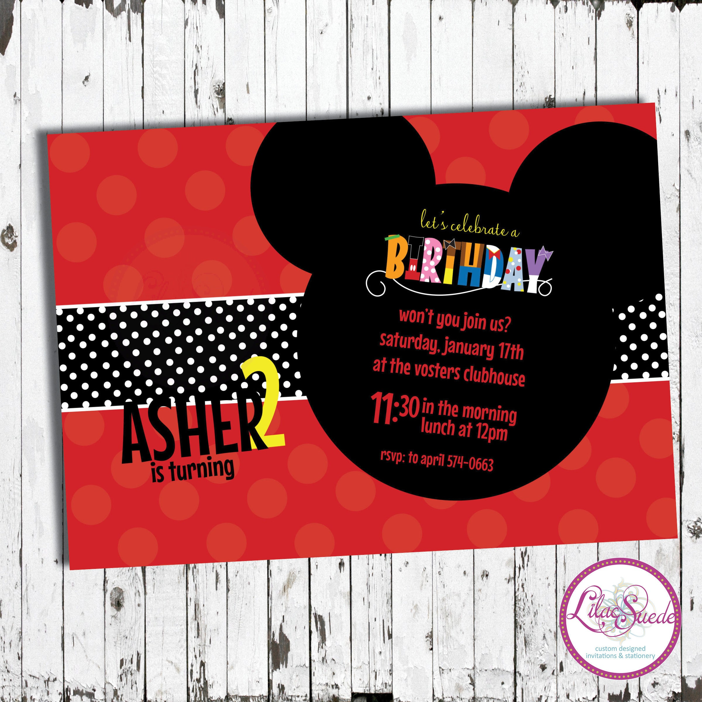 Mickey mouse clubhouse birthday invitation print yourself