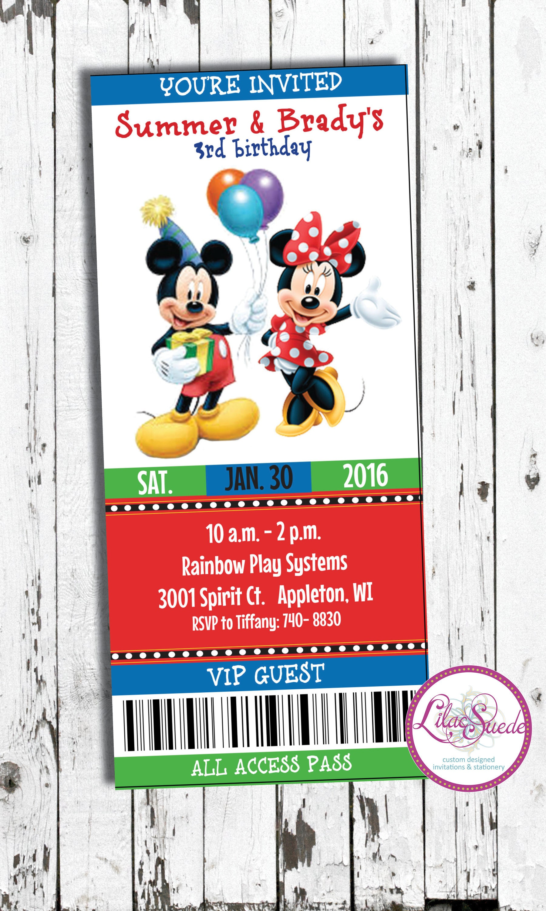 Mickey and Minnie Twins birthday print yourself or order | Etsy