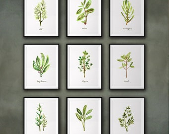 Herb Prints Kitchen Art Prints Botanical Wall Art Kitchen Decor Farmhouse Decor Botanical Print Set of 9 Farmhouse Sign Living room wall art