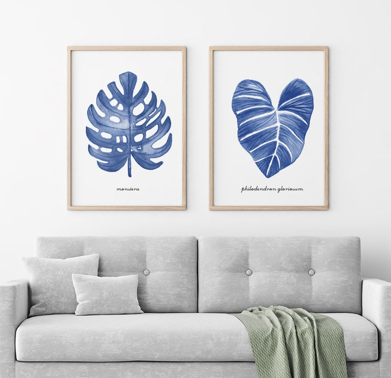 Monstera Watercolor Painting Leaf Set Of 2 Tropical Leaves Hamptons Style Living Room Art Botanical Print Blue Palm Leaf Print