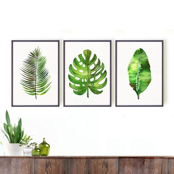 monstera print palm leaf art print botanical print set etsy