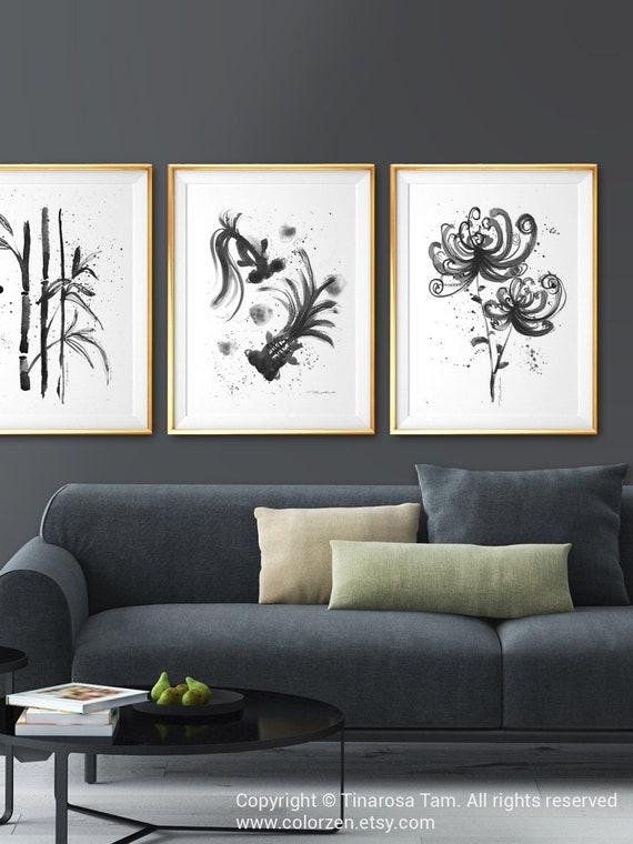 Watercolor Botanical Print Set of 3 Prints, Black and White Asian Wall Art,  Asian Decor, Chinoiserie Chic, Bamboo, Goldfish, Oriental Art