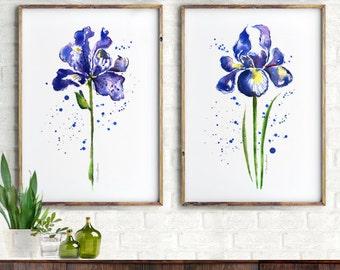 Iris Watercolor Painting, Flower Art Print Set of 2 Prints, Iris Spring Art, Purple Bedroom Wall Decor, Watercolor Flower Bedroom Wall Art