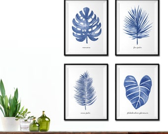 Palm Print Botanical Decor, Set of 4 Leaves Watercolor Painting, Bathroom Blue Artwork, Navy Blue Living Room Tropical Wall Art, Home Garden
