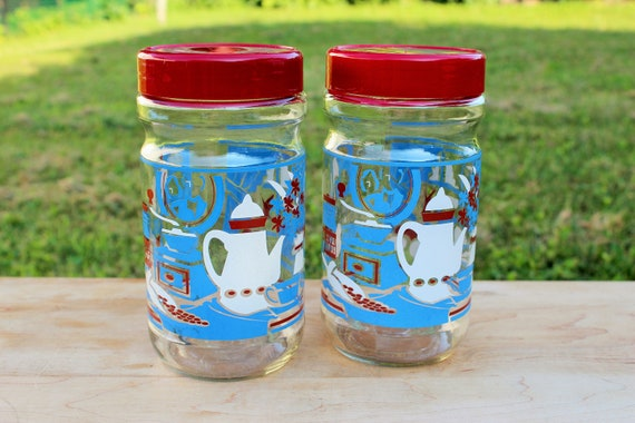 Two Vintage Maxwell House Coffee Canisters Red Lid Kitchen Wares Kitsch Glass Storage Jar Container