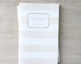 SALE! Humbled Hearts Daybook - Gold foil - Prayer Journal - Striped