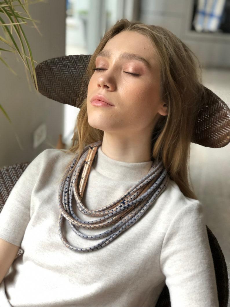 Statement necklace Multi strand necklace Vegan necklace Vegan jewelry Fabric necklace Modern Contemporary Fashion jewelry Magnet clasp