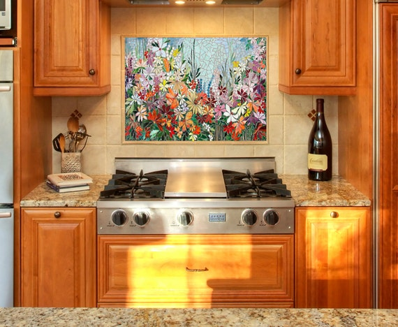 CUSTOM KITCHEN MOSAIC backsplash art - hand cut stained glass - original  one-of-a kind designs - made to order