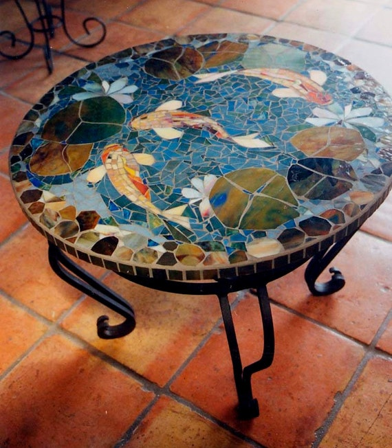 Superbe MOSAIC KOI TABLE Custom Order Tabletop 30 End Table | Etsy