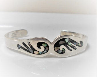 Taxco Mecican Silver .925 signed Vintage metal black abalone shell bow enamel plated bangle bracelet metallic cuff statement cultural gift