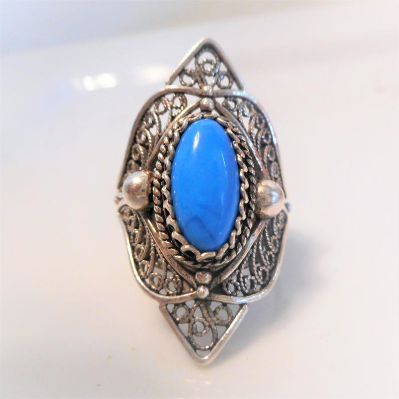 SALE Size 7 Vintage Sleeping Beauty Turquoise Filigree Ring Large Genuine Turquoise Sterling Silver Goth Biker Ring 9.8g Women/'s Rings