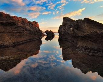 Landscape Photography, Sunset at  Dor Beach,Wall Decor, Nature,  Fine Art Photograph, eascape Photography, sunset, rock, Reflection