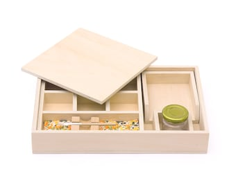 Montessori Wooden Gluing Box with Extra Brushes