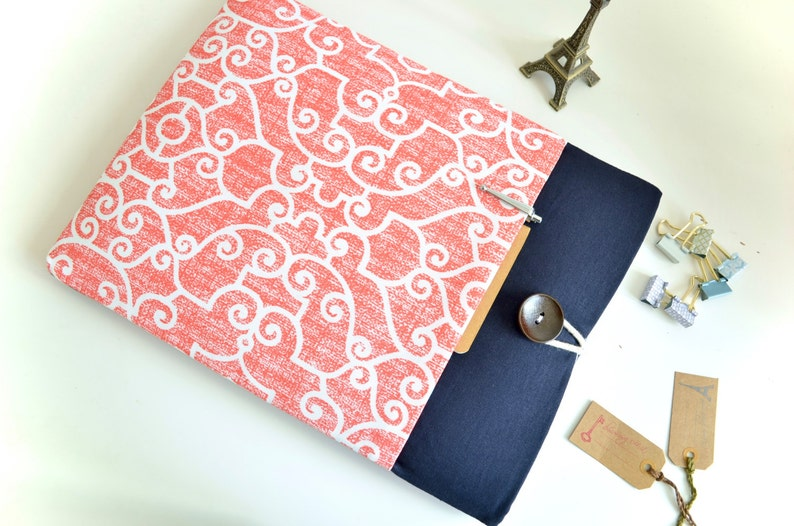 iPad Mini Pouch, Kindle Cover, Amazon Fire HD 8, 10, Kindle Paperwhite  Sleeve Gift for Her Tablet or eReader in Coral and Navy