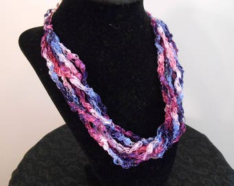 Purple, pink, blue and white crochet necklace Item No. 15 J