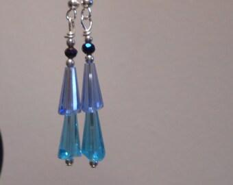 Long Hanging Blue Crystal Glass Bead Earrings Item No. 188