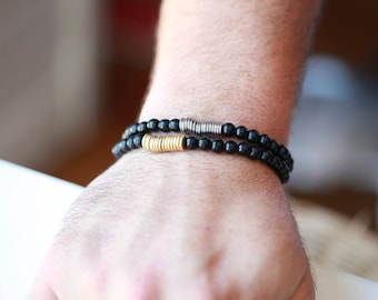 Mens Beaded Bracelet - With Metal Accents
