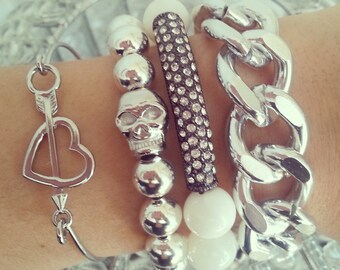 SILVER CURB Chain Bracelet -Chunky Large Chain Link Bracelet - Chain bracelet